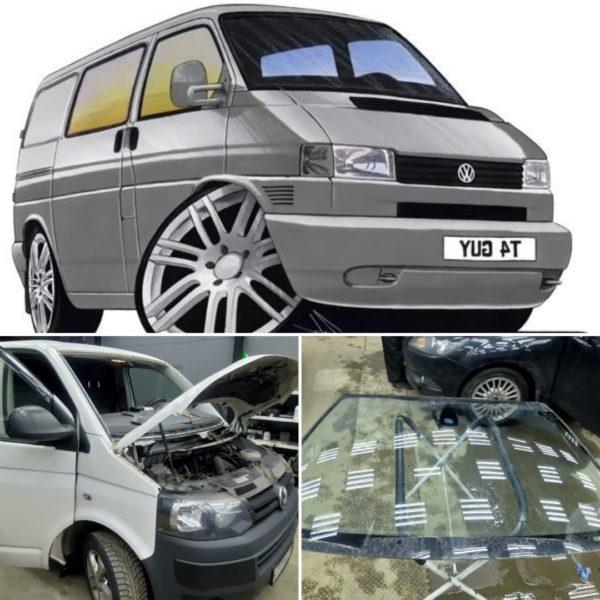 Замена лобового стекла в СПБ на VW transporter